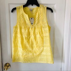 NWT LUCKY BRAND lace eyelet yellow boho blouse